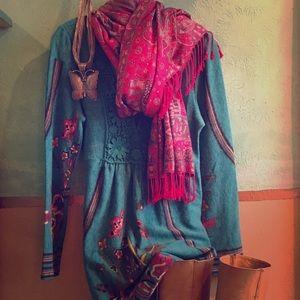 Aryeh acrylic/nylon knit dress.